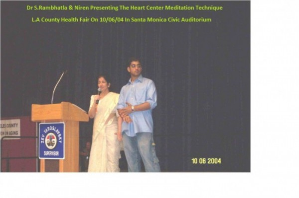 Dr S.Rambhatla & Niren Presenting The Heart Center Meditation Technique At L.A County Health Fair On 6th Oct, 2014 In Santa Monica Civic Auditorium